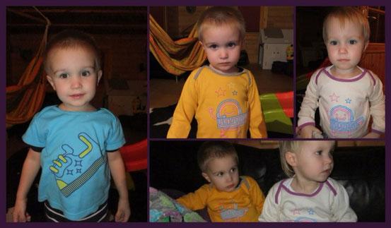 Kinder mit Kindsstoff Shirts