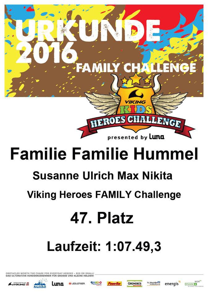 Urkunde Viking Heroes Challenge Familiy 2016