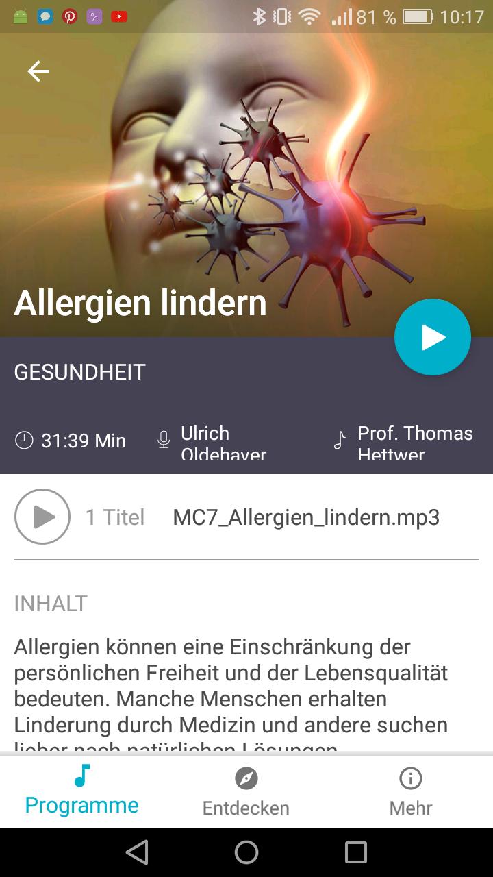 Mindvisory Allergien lindern App Erfahrung