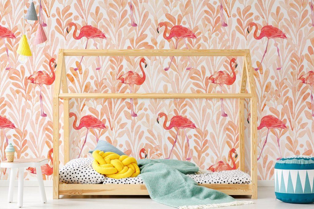 rosa Fototapete mit Flamingos im Kinderzimmer