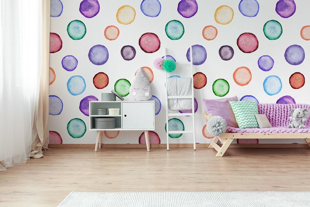 bunte Fototapete mit Kreisen Kinderzimmer
