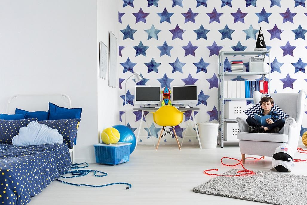 Fototapete mit Sternen im Kinderzimmer