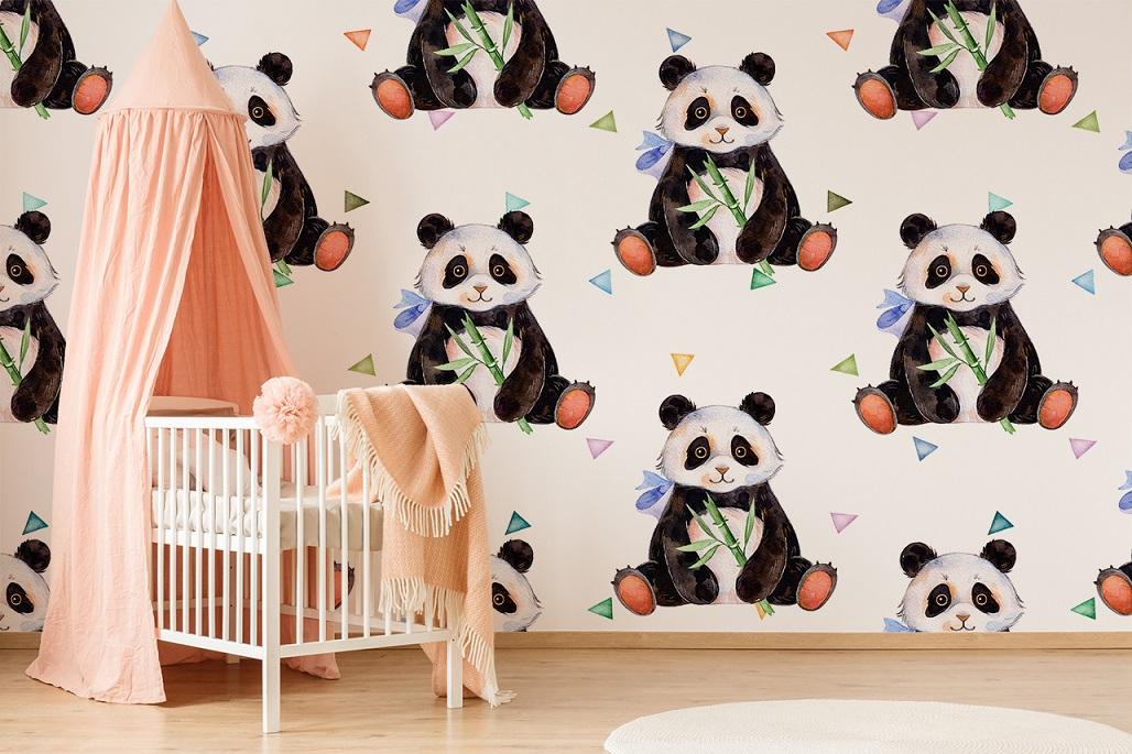 Fototapete mit Panda im Mädchenzimmmer
