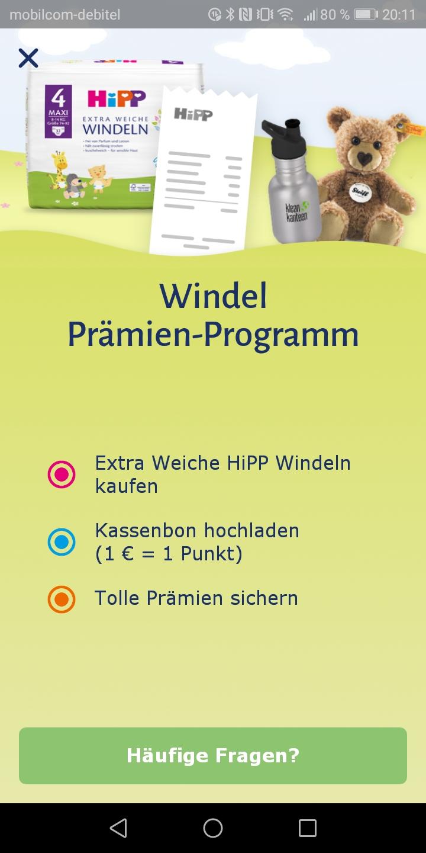HiPP Windel App Prämien sammeln Android