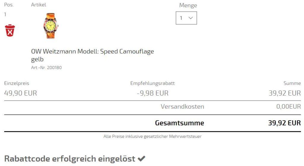 Rabatt Gutschein Code Otto Weitzmann Uhr 20%