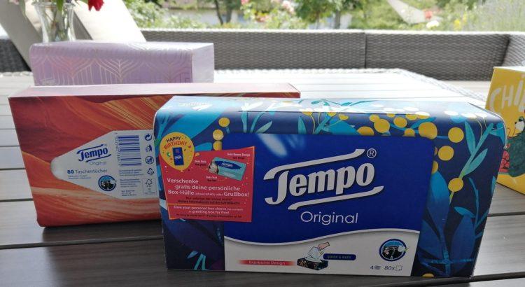 gratis Tempobox oder Sleeve bestellen