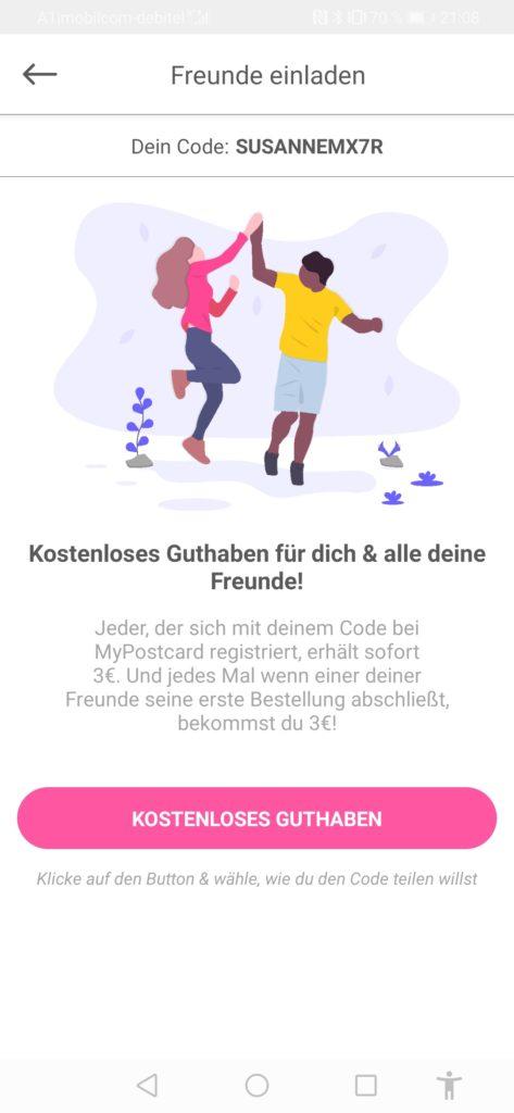 MyPostcard App Erfahrung und gratis Guthaben