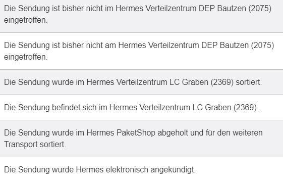 Hermes Sendungsstatus ändert sich nicht